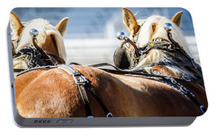 Portable Battery Charger featuring the photograph Draft Horses Ready by Dawn Romine