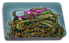 Portable Battery Charger featuring the digital art Dragon In Thorns by Kevin Middleton