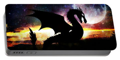 Dragon Silhouette Portable Battery Charger by Maria Urso