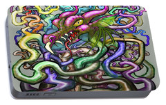 Portable Battery Charger featuring the digital art Dragon Vines by Kevin Middleton