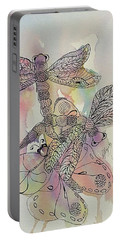 Portable Battery Charger featuring the painting Dragonflies And Butterfly by Ellen Levinson