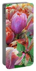 Portable Battery Charger featuring the mixed media Dragonfly And Tulips 2 by Carol Cavalaris