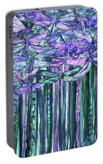 Portable Battery Charger featuring the mixed media Dragonfly Bloomies 1 - Lavender Teal by Carol Cavalaris