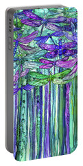 Dragonfly Bloomies 1 - Purple Portable Battery Charger by Carol Cavalaris