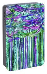 Portable Battery Charger featuring the mixed media Dragonfly Bloomies 1 - Purple by Carol Cavalaris