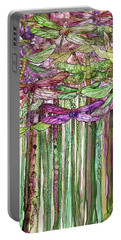 Portable Battery Charger featuring the mixed media Dragonfly Bloomies 1 - Pink by Carol Cavalaris