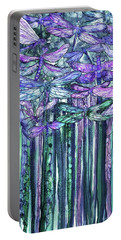 Dragonfly Bloomies 2 - Lavender Teal Portable Battery Charger by Carol Cavalaris