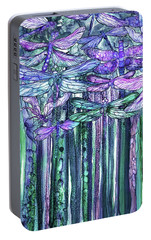 Portable Battery Charger featuring the mixed media Dragonfly Bloomies 2 - Lavender Teal by Carol Cavalaris