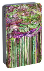 Portable Battery Charger featuring the mixed media Dragonfly Bloomies 2 - Pink by Carol Cavalaris