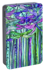 Portable Battery Charger featuring the mixed media Dragonfly Bloomies 2 - Purple by Carol Cavalaris