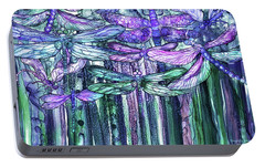 Portable Battery Charger featuring the mixed media Dragonfly Bloomies 3 - Lavender Teal by Carol Cavalaris