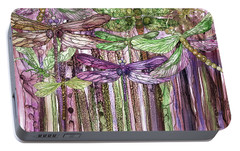Portable Battery Charger featuring the mixed media Dragonfly Bloomies 3 - Pink by Carol Cavalaris