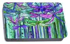 Portable Battery Charger featuring the mixed media Dragonfly Bloomies 3 - Purple by Carol Cavalaris