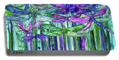 Dragonfly Bloomies 3 - Purple Portable Battery Charger by Carol Cavalaris