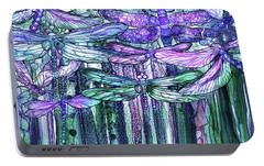 Portable Battery Charger featuring the mixed media Dragonfly Bloomies 4 - Lavender Teal by Carol Cavalaris