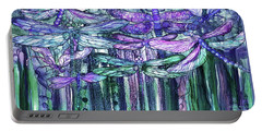 Dragonfly Bloomies 4 - Lavender Teal Portable Battery Charger by Carol Cavalaris
