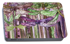 Portable Battery Charger featuring the mixed media Dragonfly Bloomies 4 - Pink by Carol Cavalaris