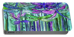 Portable Battery Charger featuring the mixed media Dragonfly Bloomies 4 - Purple by Carol Cavalaris