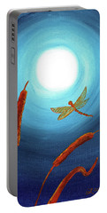 Dragonfly In Teal Moonlight Portable Battery Charger