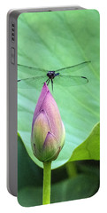 Dragonfly Landing On Lotus Portable Battery Charger