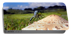Dragonfly On A Mushroom Portable Battery Charger