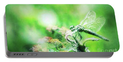 Dragonfly On Lantana-green Portable Battery Charger