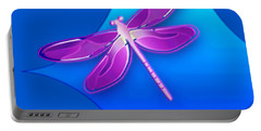 Dragonfly Pink On Blue Portable Battery Charger