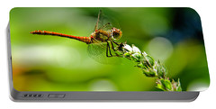 Dragonfly Sitting On Flower Portable Battery Charger
