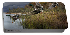 Drake Mallard Ducks Coming In For A Landing Portable Battery Charger