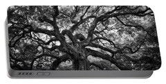 Dramatic Angel Oak In Black And White Portable Battery Charger