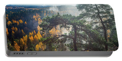 Dramatic Autumn Forest With Trees On Foreground Portable Battery Charger