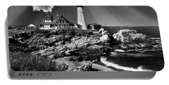 Dramatic Portland Head Lighthouse Me Portable Battery Charger