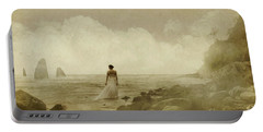 Dramatic Seascape And Woman Portable Battery Charger