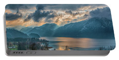 Dramatic Sunset Over Mondsee, Upper Austria Portable Battery Charger by Jivko Nakev