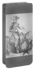 Drawing Pencil Cowboy On Horse #17119 Portable Battery Charger
