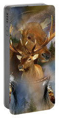 Dream Catcher - Spirit Of The Elk Portable Battery Charger by Carol Cavalaris