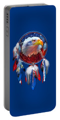 Portable Battery Charger featuring the mixed media Dream Catcher - Eagle Red White Blue by Carol Cavalaris