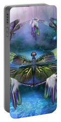 Dream Catcher - Spirit Of The Dragonfly Portable Battery Charger by Carol Cavalaris