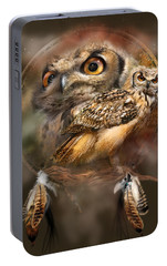 Portable Battery Charger featuring the mixed media Dream Catcher - Spirit Of The Owl by Carol Cavalaris