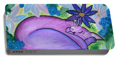 Dreaming Sleeping Purple Cat Portable Battery Charger