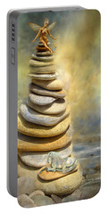 Portable Battery Charger featuring the mixed media Dreaming Stones by Carol Cavalaris