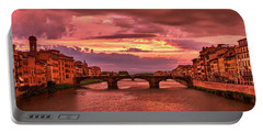 Dreamlike Sunset From Ponte Vecchio Portable Battery Charger