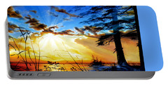 Portable Battery Charger featuring the painting Dreams Of Sunrise Through The Pines by Hanne Lore Koehler
