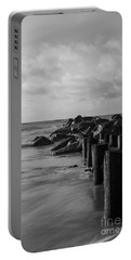 Dreamy Jettie Grayscale Portable Battery Charger by Jennifer White