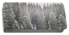 Portable Battery Charger featuring the photograph Dreamy Pine Snow Forest Landscape by Andrea Hazel Ihlefeld