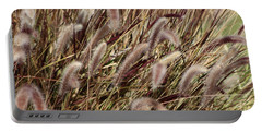 Dried Grasses In Burgundy And Toasted Wheat Portable Battery Charger