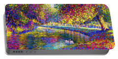 Drifting Beauties, Swans, Colorful Modern Impressionism Portable Battery Charger