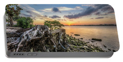 Portable Battery Charger featuring the photograph Driftwood At The Edge by Debra and Dave Vanderlaan