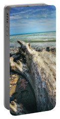 Portable Battery Charger featuring the photograph Driftwood On Beach - Grant Park - Lake Michigan Shoreline by Jennifer Rondinelli Reilly - Fine Art Photography