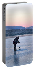 Portable Battery Charger featuring the photograph Drilling Ice On Wilson Lake, Wilton, Maine  -88115 by John Bald